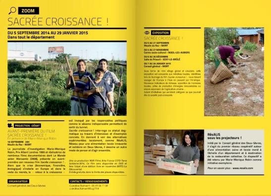 Sacrée Croissance_ de Marie-Monique Robin et exposition organisée par le conseil général des Deux Sèvres
